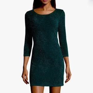 Textured Glitter Dark Green Knit Dress | NWT